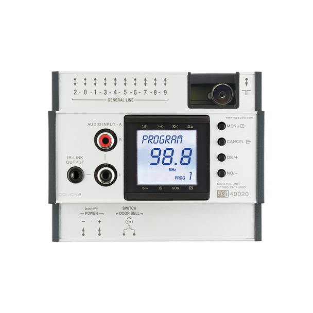 Central Unit with 1 AUX Audio Program with FM+IR Clock and Intercom