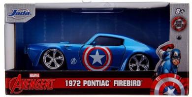 Captain America - 1:32 Captain America 1972 Pontiac Firebird Hollywood Ride Die Cast Car