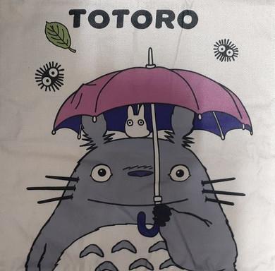 My Neighbor Totoro - Totoro Pink Umbrella Canvas Style 45x45cm Cushion