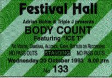Body Count - 1993 Australian Festival Hall Venue Vintage Ticket