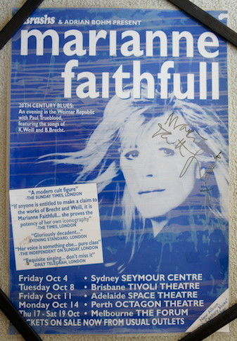 Marianne Faithfull - 1997 20th Century Blues Promo Laminated Collectable Poster Autographed