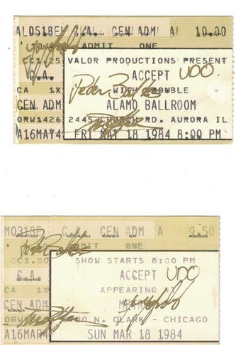 Accept - Signed In Gold Pen. Friday May 18th Or March 18th 1984 Autographed Vintage Ticket