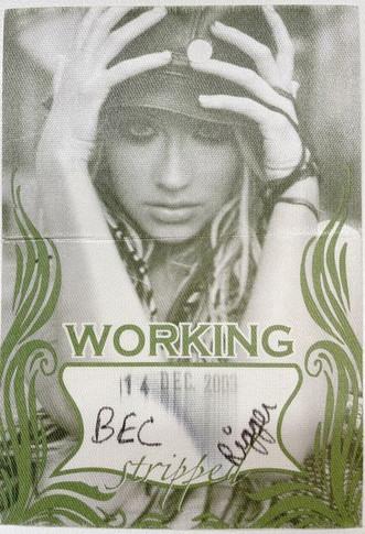 Christina Aguilera - 14 December 2003 Stripped Tour Backstage Pass