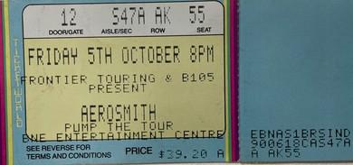 Aerosmith - Pump The Tour Concert Ticket