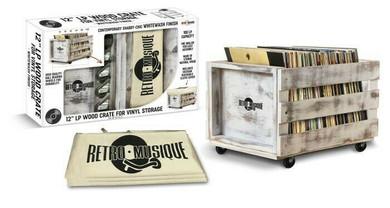 Retro Musique - Wooden Vinyl Storage Crate (Whitewash)