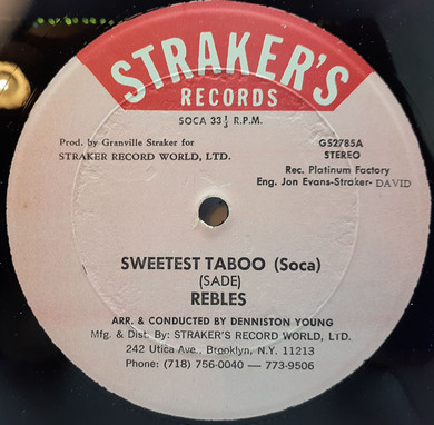 "Rebles - Sweetest Taboo / Taboo 12"" EP/Single Vinyl (Used)"