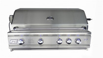 "RCS RON42a 42"" Cutlass Pro Series Grill, Blue LED with Rear Burner Hood closed"