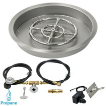 "American Fireglass 19"" Round drop-in Pan Spark Ignition- Propane"
