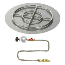 "American Fireglass 24"" Round Flat Pan with Match Lite Kit - Propane"