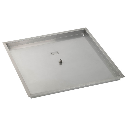 """American Fireglass 36"""" Square Stainless Steel Drop-In Fire Pit Pan"""