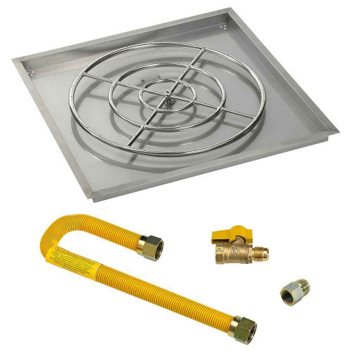 """American Fireglass Square 36"""" Drop-In Pan with Match Lite Kit"""