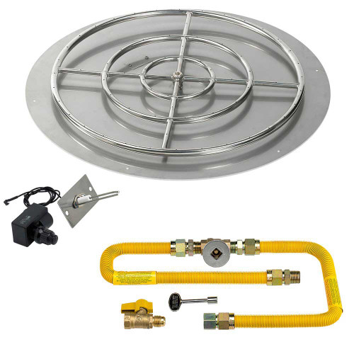 """American Fireglass Round 36"""" Flat Pan with Spark Ignition Kit"""