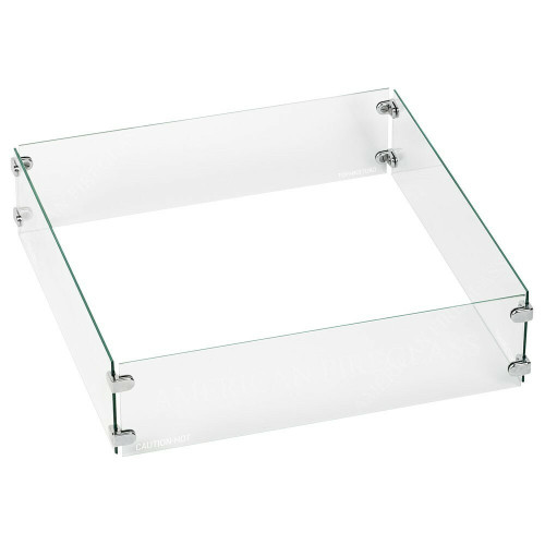 American Fireglass Square Glass Flame Guard for Drop-In Fire Pit Pan