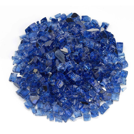 "American Fireglass 1/2"" Cobalt Blue reflective Fire Glass 10lbs"