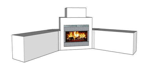"DIY BBQ Custom Fireplace and Island frame kit with 18"" Fireplace Chimney"