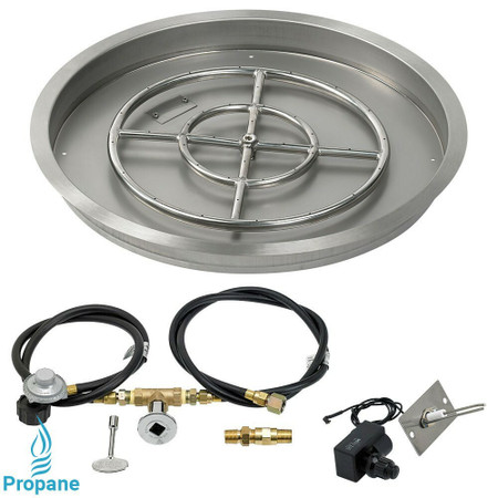 "American Fireglass 25"" Round drop-in Pan Spark Ignition- Propane"