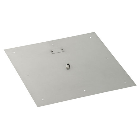 "American Fireglass 24"" Square Stainless Steel Flat Pan (1/2"" Nipple)"