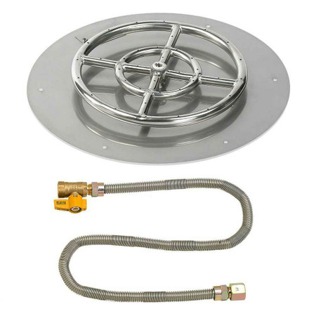 "American Fireglass 18"" Round Flat Pan with Match Lite Kit - Natural Gas"