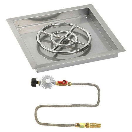 "American Fireglass 18"" Square Drop-In Pan with Match Lite Kit - Propane"