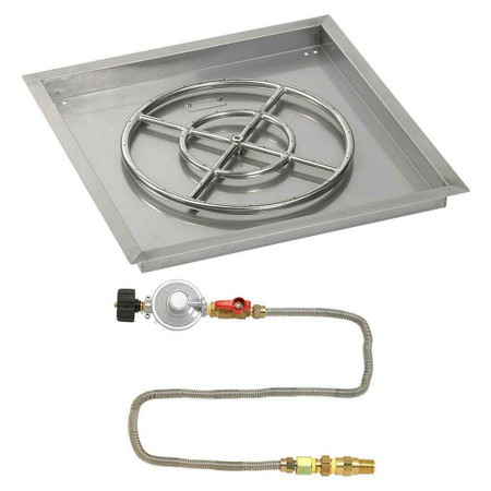 "American Fireglass 24"" Square Drop-In Pan with Match Lite Kit - Propane"