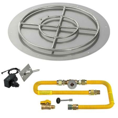 "American Fireglass Round 30"" Flat Pan with Spark Ignition Kit"