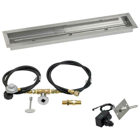 "American Fireglass 36""x6"" Linear Drop-In Pan w/ Spark Ignition Kit - Propane"