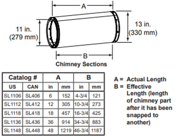 Majestic SL1106 6 Inch Chimney Section - 11 Inch Diameter