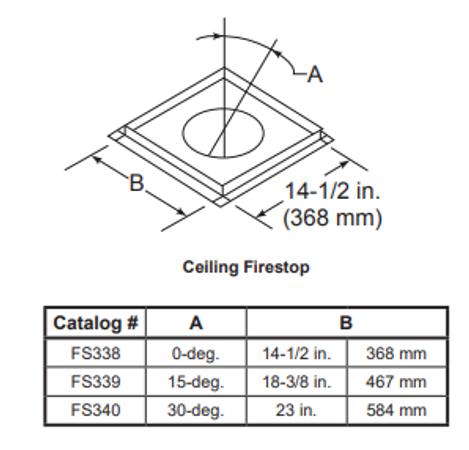 Majestic FS340 Firestop For 30 Degree Angular Flue