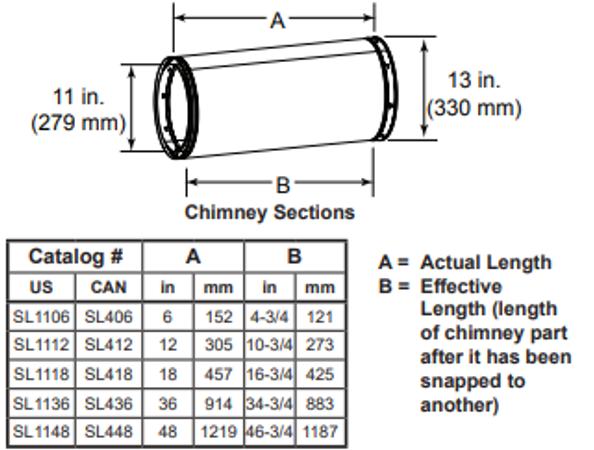 Majestic SL406 6 Inch Chimney Section - 11 Inch Diameter