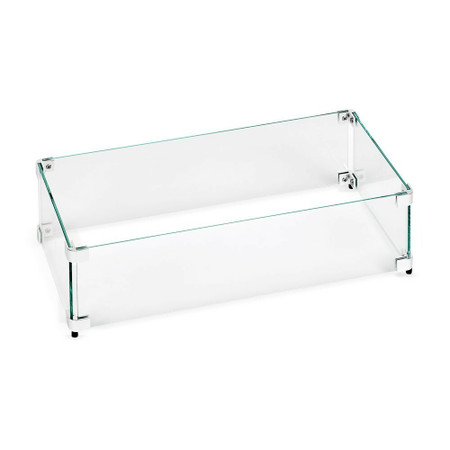 American Fireglass Rectangular Glass Flame Guard for Drop-In Fire Pit Pan