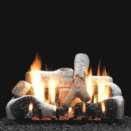 Empire Vent Free Birch Gas Log Set With Slope Glaze Burner and Electronic Variable Remote