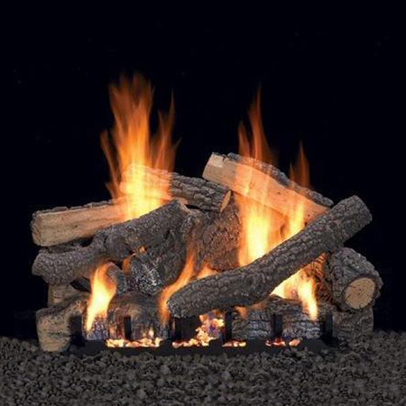 Empire Vent Free Ponderosa Gas Log Set With Slope Glaze Burner and Electronic Variable Remote