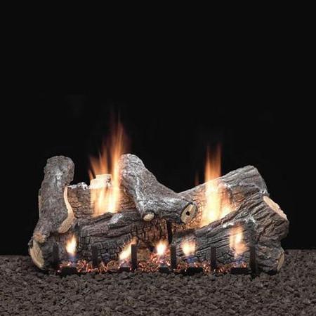 Empire Vent Free Sassafras Gas Log Set With Slope Glaze Burner and Electronic Variable Remote