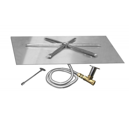 Firegear Match Light Gas Fire Pit Burner Kit, Square Bowl Pan, High Capacity 32 Inch