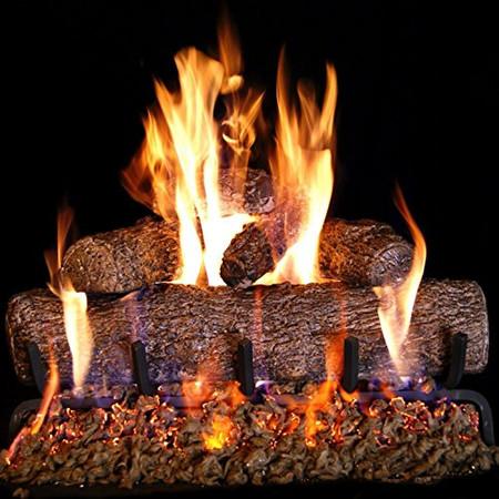 Real-Fyre 18-inch Live-Oak Log Set With Vented Burner Match Light (Natural Gas Only)