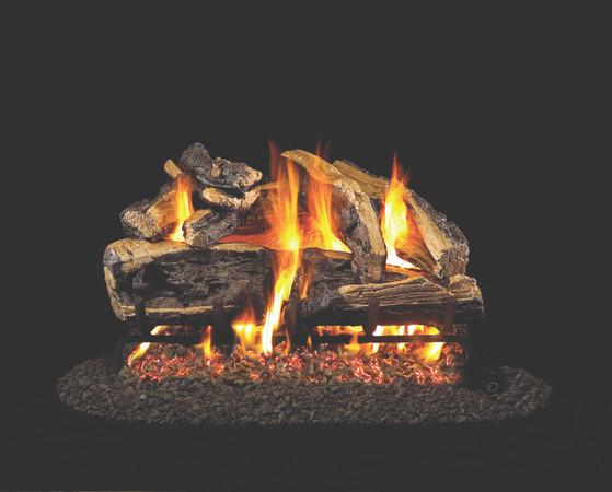 Real Fyre Charred Rugged Split Oak Vented Log Set (CHRRSO-24), 24-Inch