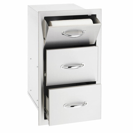"17"" North American Stainless Steel Vertical 2-Drawer & Paper Towel Holder Combo w/ Masonry Frame Return (SSTDC-17M)"