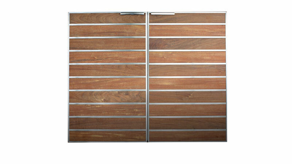 "Madera 40x34"" Integrated North American Stainless Steel & Teak Full Height Vertical Dry Storage Pantry (SSMP-40V-TK)"