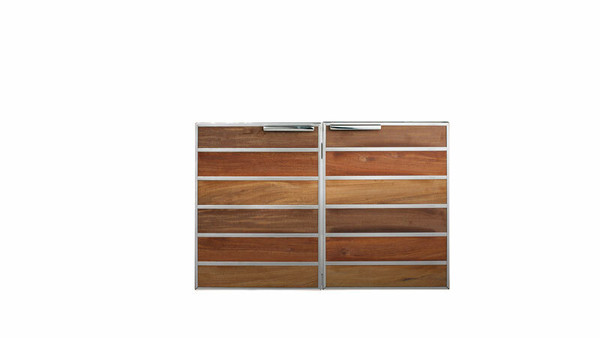 "Madera 30"" Integrated North American Stainless Steel & Teak Double Access Door (SSMDD-30-TK)"