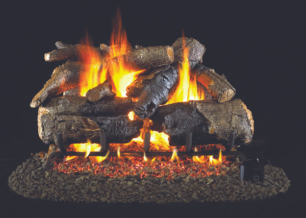 Real Fyre Charred American Oak Vented Gas Logs (CHAO-18/20), 18-Inch