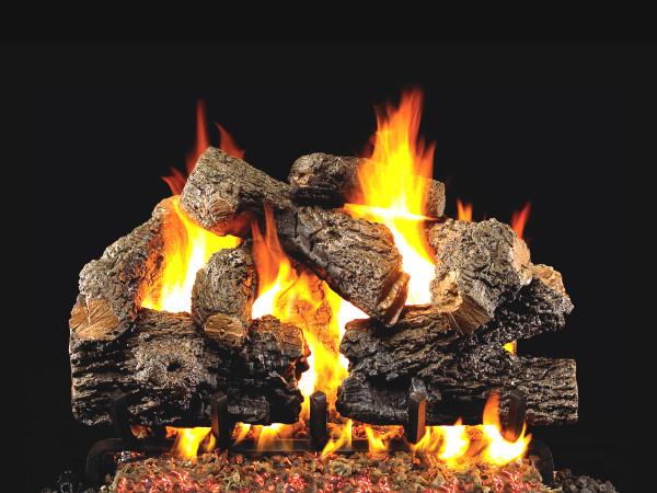 Real Fyre Charred Royal English Oak Vented Gas Logs (CHB-24), 24-Inch