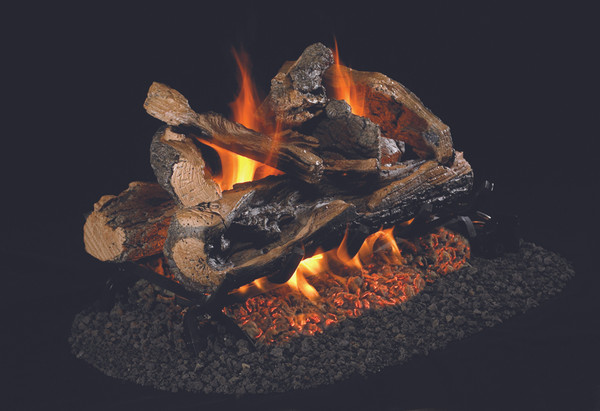 Real Fyre See-Thru Charred Rugged Split Oak Vented Log Set (CHRRSO-2-30), 30-Inch