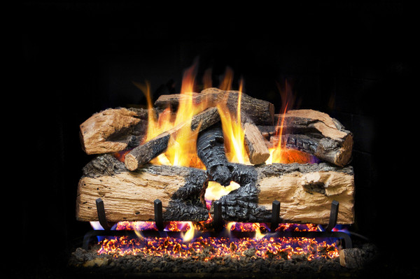 Real Fyre Charred Evergreen Split Oak Vented Gas Logs (ENS-18), 18-Inch