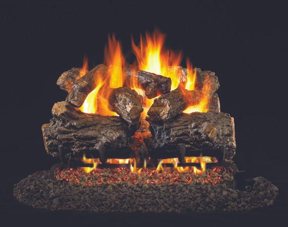 Real Fyre Burnt Rustic Oak Vented Log Set (HCHR-24), 24-Inch