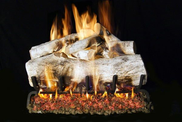 Real Fyre See-Thru Mountain Birch Vented Gas Logs (MBW-2-24), 24-Inch