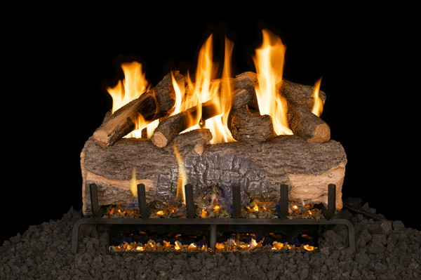 Real Fyre Mountain Crest Oak Vented Gas Logs (MCO-24), 24-Inch