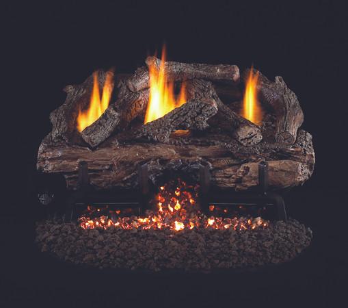 Real Fyre Charred Aged Split Oak Vent-Free Gas Logs (CHAS-24), 24-Inch