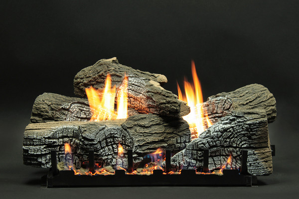 Empire Stacked Wildwood Refractory Log Set with Vent-Free Slope Glaze Burner System