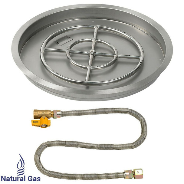 "American Fireglass 25"" Round drop-in Pan Match Lite- NG"