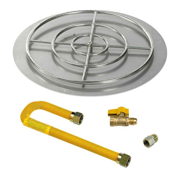 "American Fireglass Round 36"" Flat Pan with Match Lite Kit"